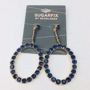 Baublebar Bejeweled Blue Oval Gold Hoop Earrings
